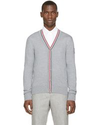 Moncler Gamme Bleu | Gray Grey Tricolor Trim Cardigan for Men | Lyst