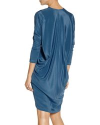 Zero + Maria Cornejo Blue Capeback Belted Silksateen Dress