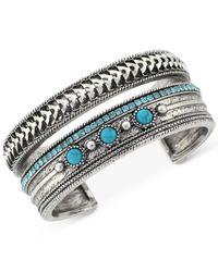 BCBGeneration - Metallic Silver-tone Imitation Turquoise Stone Cuff Bracelet - Lyst