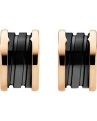 BVLGARI | B.Zero1 18Ct Pink-Gold Earrings With Black Ceramic - For Women | Lyst