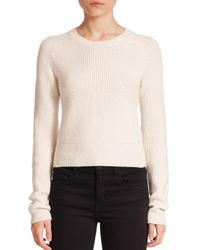 Helmut Lang Natural Cropped Merino Wool & Cashmere Sweater