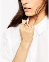 ASOS - Metallic Pack Of 3 Open Shapes & Crystal Rings - Lyst