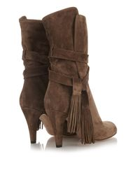 Chloé Brown Tassel Suede Ankle Boots