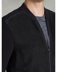 John Varvatos Blue Zip Front Baseball Sweater Jacket for men