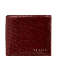 Ted Baker Red Exotic Emboss Bifold Coin Wallet for men