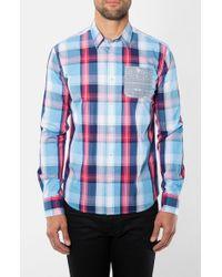 7 Diamonds - Blue 'caneel Bay' Trim Fit Plaid Woven Shirt for Men - Lyst