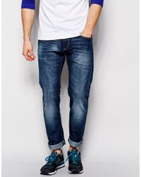 Solid - Blue Solid Mid Wash Jeans In Straight Fit for Men - Lyst