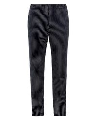 Raey Black Pinstripe Cotton Chinos for men