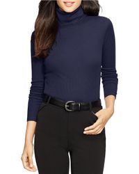 Lauren by Ralph Lauren | Blue Cotton Turtleneck | Lyst
