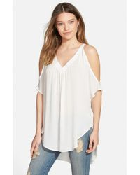 Lush - White Cold Shoulder Tee - Lyst