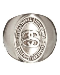 Stussy   Metallic Ss Logo Ring for Men   Lyst