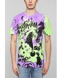 Stussy - Purple Classic Collage Tee for Men - Lyst