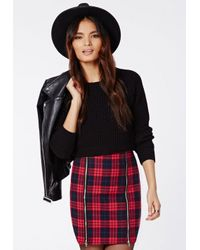 Missguided Berlinda Tartan Zip Detail Mini Skirt Red
