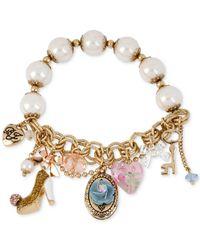 Betsey Johnson | Multicolor Gold-Tone Oval Flower Charm Stretch Bracelet | Lyst