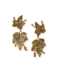 Oscar de la Renta | Metallic Ivy Clip Earrings With Crystals | Lyst