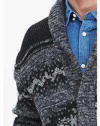 Banana Republic - Black Heritage Patterned Shawl-collar Cardigan for Men - Lyst