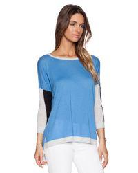 Autumn Cashmere Blue Color-Blocked Cashmere Sweater