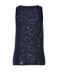 Donna Karan - Blue Sequined Cashmere Cowl Neck Top - Lyst