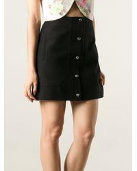 Carven Black Straight Button Fastening Skirt