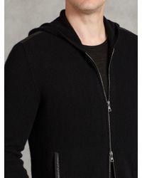 John Varvatos | Black Cashmere Zip Front Hoodie for Men | Lyst