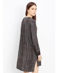 Vince Black Silk Wavy Stripe Printed Dress