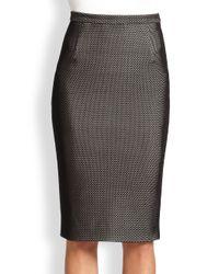 Tamara Mellon - Black Bonded Fishnet Pencil Skirt - Lyst