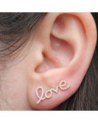Anne Sisteron - Pink 14kt Rose Gold Diamond Love Ear Cuff - Lyst