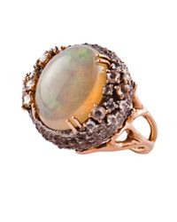 Federica Rettore | Metallic Opal And Diamond Sea Urchin Ring | Lyst