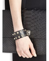 Valentino | Rockstud Medium Black Leather Cuff | Lyst