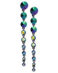 Guess | Metallic Hematite-tone Graduated Stone Drop Earrings | Lyst
