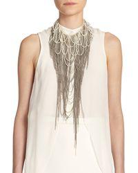 Haute Hippie - White Pearl & Chain Draped Fringe Neckpiece - Lyst
