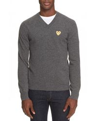 Comme des Garçons | Gray Wool V-neck Sweater for Men | Lyst