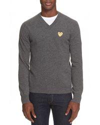 Comme des Garçons - Gray Wool V-neck Sweater for Men - Lyst