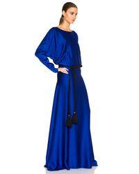 Lanvin Blue Long Sleeve Viscose Gown