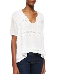 Golden by JPB - White Bebe Lace-stripe Voile Top - Lyst