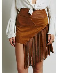 Free People | Brown Vegan Fringe Mini Skirt | Lyst