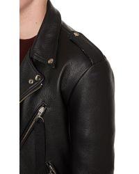 Matthew Miller - Black Leather Biker Jacket for Men - Lyst