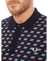 Stussy | Blue Graphic Argyle Knitted Polo for Men | Lyst