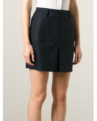 Burberry Brit - Blue Inverted Pleat A-Line Skirt - Lyst