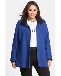 Halogen - Blue Front Zip Stand Collar Coat - Lyst