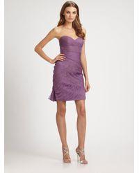 ML Monique Lhuillier | Purple Silk Chiffon & Lace Strapless Cocktail Dress | Lyst