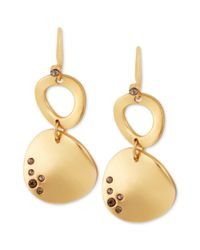 Kenneth Cole - Metallic Goldtone Pave Sculptural Disc Double Drop Earrings - Lyst
