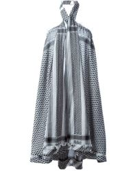 Cecilie Copenhagen Gray Keffiyeh-Print Cotton Dress