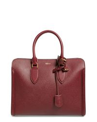 Alexander McQueen - Purple 'heroine' Open Leather Tote - Burgundy - Lyst