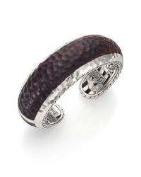 John Hardy Purple Palu Rose Wood  Sterling Silver Cuff Bracelet
