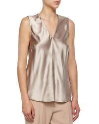 Brunello Cucinelli - Brown Satin V-neck Bias-cut Tank - Lyst
