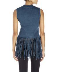 Re:named - Blue Sleeveless Fringe Sweater - Lyst