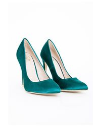Missguided - Blue Isabel Pointed Stiletto Court Heels Teal Satin - Lyst