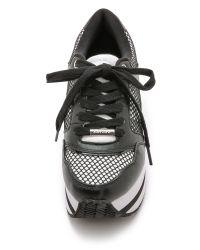 DKNY - Jill Platform Sneakers - White/black - Lyst