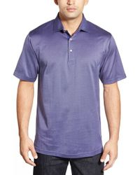 Peter Millar | Blue 'mitch' Herringbone Lisle Polo for Men | Lyst